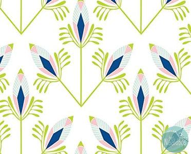 Camelot fabrics - Peacock garden feathers white