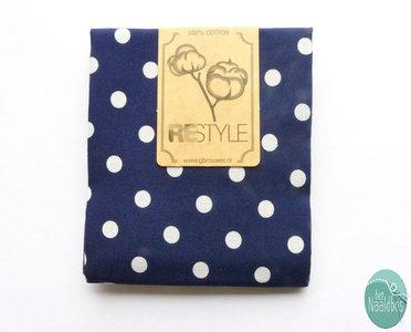 Restyle Fabrics - Grote stip Donkerblauw